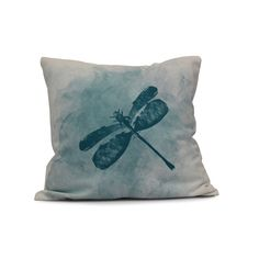E by Design 20-inch Dragonfly Summer Animal Print Outdoor Pillow (Teal), Blue (Polyester)