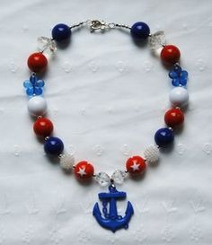 July 4th Red White & Blue Kids Chunky Bubblegum Beads Necklace with Blue Anchor