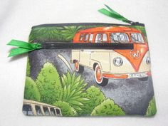 'Camper Van VW' Green Retro Style Fabric Handmade Double Zip Coin Purse | eBay