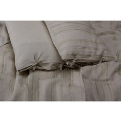 Set of 2 Random Striped Stonewashed Linen Pillowcases With Side Ties