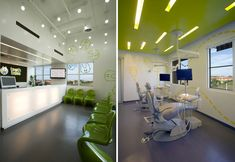 pediatric dental office- looks very crisp and modern Law Office Design, Medical Office Design, Office Interior Design, Office Designs, Cabinet Medical, Kids Dentist, Dental Design, Treatment Rooms, Dental Health