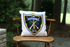 Vintage The Citadel Needlepoint Pillow / The by theretrobeehive