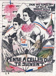 Aurélie William Levaux / Fais pas semblant / encre et coton brodé sur tissu