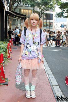 #Kinji Shop Girl in Pink & Purple in #Harajuku