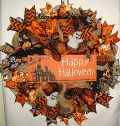 Happy Halloween Burlap and Mesh Wreath by StarlightWreaths on Etsy