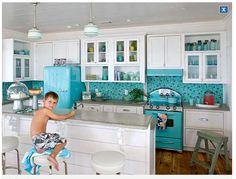 White & blue kitchen <3