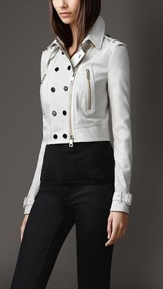 Burberry London Cropped Python Biker Jacket