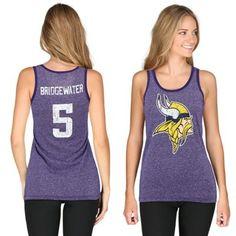 29a2b04d8 Majestic Threads Teddy Bridgewater Minnesota Vikings Women s Purple Primary  Logo Name  amp  Number Tank Top