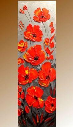 Rode klaproos schilderij getextureerde bloem kunst Abstract schilderij grote florale Art Canvas Art verticaal Decor abstracte Poppy wandschildering door Nata S - MyKingList.com