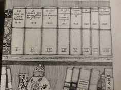 Drawing by David B. Kelly of the volumes and dates of A  la Recherch du temps Perdu, Le chef-d'oeuvre de Marcel Proust.