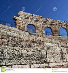 Photo about Detail of the side wall of the Arena of Verona, Italy. ancient roman riuns. Image of detail, europe, tourism - 111833077