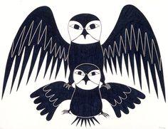 Pair of Owls by Kenojuak Ashevak, Inuit artist (G203021)