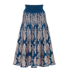 Pepa Pombo     Sucesso Skirt (2.445 BRL) ❤ liked on Polyvore featuring skirts, floral, floral a line skirt, blue a line skirt, knit a line skirt, floral print a-line skirt and blue skirt