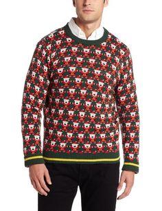 Alex Stevens Men's 8 Bit Santa Holiday Sweater, Green Beret, Large
