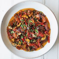 Printed - This slow-cooker ratatouille is our convenient take on the vegetable dish that's ubiquitous in southern France. Serve it atop pasta or alongside meats. Slow Cooker Ratatouille, Ratatouille Recipe Crockpot, Vegetable Ratatouille, Vegetable Medley, Slow Cooker Recipes, Cooking Recipes, Crockpot Meals, Skillet Recipes, Cooking Tools