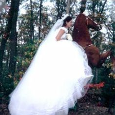 Wedding dress and horse