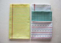 "Yellow Lined ""Paper"" Towel - Decorative Cotton Tea Towel. $12.00, via Etsy."