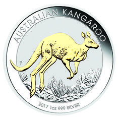 This 2017 Australian Kangaroo 1oz Silver Gilded Coin features a kangaroo gilded in 24 carat gold bounding across an outback plain. The design also includes the inscription AUSTRALIAN KANGAROO, The Perth Mint's 'P' mintmark, and the 2017 year-date.  Each coin is issued as legal tender under the Australian Currency Act 1965 and features the Ian Rank-Broadley effigy of Her Majesty Queen Elizabeth II and the monetary denomination on its obverse.  Each coin weighs 31.135g and is 99.9% Fine…