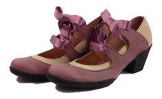 """Chaussures en cuir Art H Pied  Modèle Femme """"Amalia"""" parme et rubans satin vert"""