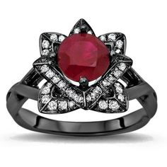 1.40ct Ruby Diamond Lotus Flower Engagement Ring 14k Black Gold (5,475 PEN) ❤ liked on Polyvore featuring jewelry, rings, gold engagement rings, gold ring, gold ruby ring, ruby diamond ring and engagement rings