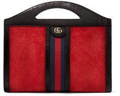 10967c2602f Gucci - Ophidia Medium Patent Leather-trimmed Suede Tote - Red Torebki Gucci