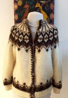 f77bb7bfd274 Hand knit handmade vintage Icelandic cardigan sweater