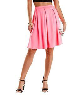 Box-Pleated Full Midi Skirt