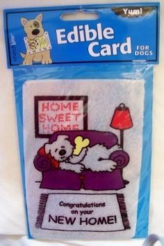 "Crunchkins #Pet Greetings Congratulations on New Home by Purrfectly Rebarkable Pets The ""Congratulations on Your New Home"" card is the perfect addition to your new pet welcome gift or as stand alone greeting gifts! These edible, rawhide greeting cards are printed with non-toxic ink and were developed by a veterinarian for pet enjoyment! Each card comes with an envelope that allows it to be mailed through your post office to the honored pet!"