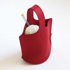 Rouge Knitting Bag / Petit feutre de laine Sac