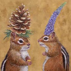 decorative napkins by vickie sawyer chipmunk courtship — MUSEUM OUTLETS Decorative Napkins, Chipmunks, Whimsical Art, Animal Paintings, Pet Portraits, Pet Birds, Folk Art, Moose Art, Cute Animals