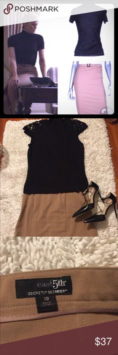 Get the Look!!! Whole outfit The Saved and Chìc Fashion box  Includes 2 items An East 5th ave skirt -10 A bejeweled short sleeve turtle neck size Medium Petite Great 2 for 1 deal, pieces are EUC NO EXCHANGE NO RETURN PRICE FIRM AS IT IS HEAVILY DISCOUNTED  Bundle deals 30%off 2 or more items East 5th Skirts Midi