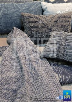 Denim chic....mélange of grey blue with washes & embellishments... find these and more at The IHGF Delhi Fair, Autumn 2015 #hometextiles #tradeshow