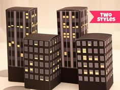 City Buildings Favor Box - DIY Printable PDF via Piggy Bank Parties Available in nighttime or daytime!