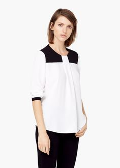 Bluse mit kontrasteinsatz | MANGO