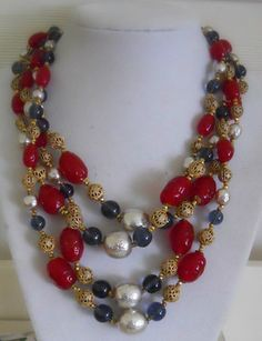 Vintage Miriam Haskell 3-strand faux pearl, red glass bead necklace with unusual bird clasp (not pictured)
