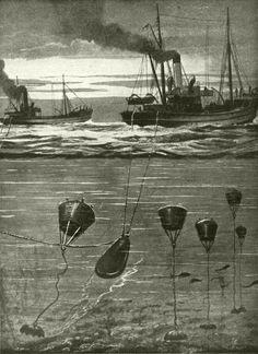 Naval trawlers sweeping mines.