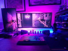 Gaming Computer Setup, Best Gaming Setup, Gamer Setup, Gaming Room Setup, Pc Setup, Gaming Rooms, Gaming Desktop, Computer Desks, Desk Setup