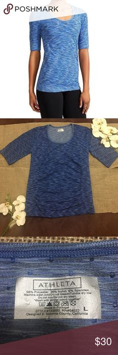 💙ATHLETA RADIANCE TEE SPACE TYE💙 In GREAT CONDITION NO STAINS NO HOLES! The perfect, lightweight tee to slip on when trekking home from the trails that covers you in seamless, chafe-free perfection.  INSPIRED FOR: hike/explore, hike To Fro, adventure To Fro Raglan sleeves give you room to move Rib-knit trim along cuffs and hem Athleta Tops