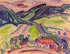 Max Sulzbachner (Swiss, 1904–1985) Jura landscape at Doubs (Juralandschaft am Doubs), 1925 Tempera on paper, 50 x 64 cm LM