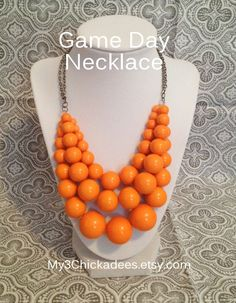 My3Chickadees.etsy.com: Game Day Necklace - Orange #UT #VOLS #ClemsonTigers