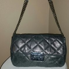 Michael Kors Quilted Leather Grey Metallic Clutch