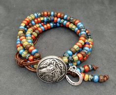 Western Bracelet, Southwestern Bracelet, Native American Wrap, Horse Bracelet, Horse Lover Bracelet, Unisex Wrap, Beaded Leather Bracelet by KarenMSmithDesigns on Etsy