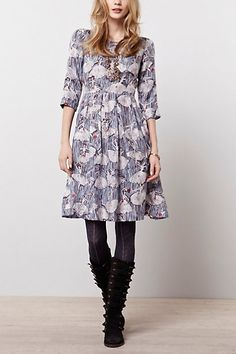 Bourgeois Dress. It has ballerinas all over it...therefore it was made for me! They need to find a dress or top with runners silhouettes drawn on it. Perfect! #anthropologie