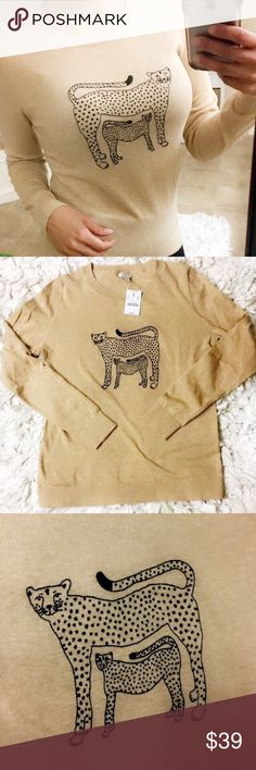 J. Crew sweater sweatshirt long sleeve shirt J. Crew sweater sweatshirt long sleeve shirt light brown with Mamma and baby leopard super soft and comfortable size small J. Crew Sweaters Crew & Scoop Necks