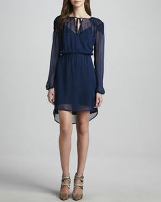 Long-Sleeve Pucker-Shoulder Dress by Cusp by Neiman Marcus at Neiman Marcus.