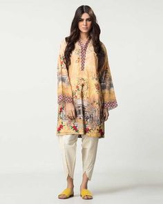 short floral shirt with white trouser girls summer lawn ...