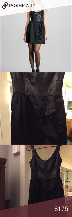 Black Nanette Lepore dress from Anthropologie. Anthropologie Nanette Lepore Magic Carpet Leather-Top Dress. A leather bodice with a charmeuse ruffled skirt. Size 6. Deep rounded V neckline; scoop back. Sleeveless; thin shoulder coverage. Seamed waist, with asymmetrical ruffle. Back zip. Made in USA. Anthropologie Dresses