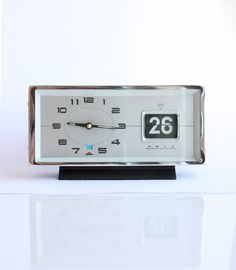 Vintage wind up alarm clock with flip date calendar NEW OLD STOCK Working 1970's retro mechanical table clock Diamond Fathers day gift idea by bluepalette on Etsy https://www.etsy.com/listing/232922312/vintage-wind-up-alarm-clock-with-flip