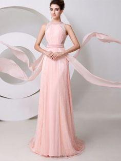 The Jewel Neck Pearls A-Line Floor Length Evening Dress