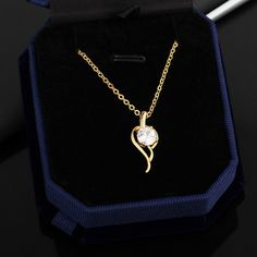 45.5cm 18K Gold Plated Water Drop Shape Inlay Zircon Pendant Copper Necklace